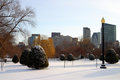 Boston winter stock image of a snowing at massachusetts usa Stock Photography