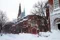 Boston winter stock image of a snowing at massachusetts usa Royalty Free Stock Photography
