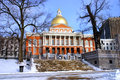 Boston winter stock image of a snowing at massachusetts usa Royalty Free Stock Photos