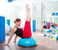 Bosu ball for fitness instructor woman in aerobics Stock Photo
