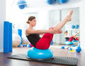 Bosu ball for fitness instructor woman in aerobics Stock Image