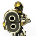 Bot soldier pointing a gun Royalty Free Stock Photo