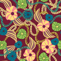 Botanic floral pattern seamless illustration in exotic retro style Royalty Free Stock Image