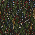 Seamless stylized plants, flowers and insects print. Vector colored illustration on dark background. Original floral pattern.