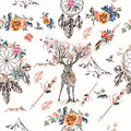 Botanical background with roses, field flowers and butterflies i