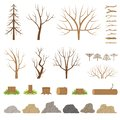 Botanical collection. Trees, bushes, logs, branches, stones and other natural elements