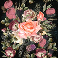 Botanical floral pattern with rose flowers for design. Ideal for