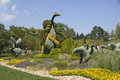 Botanical gardens monreal plant sculpture oriental lady with storks made up of small plants and on a giant scale Royalty Free Stock Image
