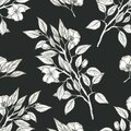 Botanical seamless pattern, Apple tree branches drawn in pencil for postcards, Wallpaper, websites, fabric Royalty Free Stock Photo