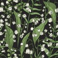 Botanical seamless pattern with beautiful blooming Lily of the valley flowers on black background. Natural backdrop with