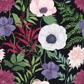Botanical seamless pattern with blooming garden flowers on black background. Elegant floral backdrop with tender