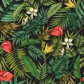 Botanical seamless pattern with foliage of exotic jungle plants on black background. Backdrop with leaves of tropical