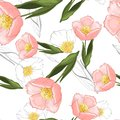 Botanical vector illustration of painted small floral template and outline drawing elements. Rustic vintage green leaves and pink