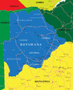 Botswana map highly detailed vector of with administrative regions main cities and roads Stock Image