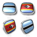 Botswana swaziland d metallic square flag button Royalty Free Stock Photos