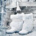 Bottes d hiver image de style de cru Images libres de droits