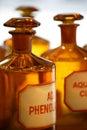 Bottiglie della farmacia dell'annata Fotografia Stock