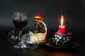 Bottl under the hat bottle of red wine decorated with spanish small castanets fitted embellished with fabric and woven bamboo Royalty Free Stock Photos