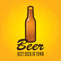 Bottle of beer banner with a on a background with bubbles Stock Photography