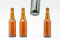 Bottle of beer macro photograph bottles on white background Royalty Free Stock Photos