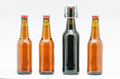 Bottle of beer macro photograph bottles on white background Stock Photography
