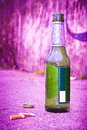 Bottle of beer resting on the ground Royalty Free Stock Photo