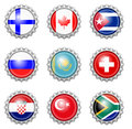 Bottle cap national flags Royalty Free Stock Photo