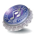 Bottle cap welcome to the music festival Royalty Free Stock Photo