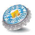 Bottle cap welcome to the Oktoberfest Royalty Free Stock Photo