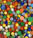 Bottle caps background colorfoul plastic Stock Photos