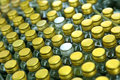 Bottle caps background rows of golden color with shallow depth of field Royalty Free Stock Photos