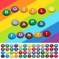 Bottle caps font Stock Photos
