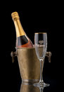 Bottle Champagne in the bucket with ice Royalty Free Stock Photo