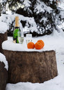 Bottle of champagne, glasses, oranges on to snow Stock Images