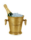 Bottle of champagne in ice bucket Royalty Free Stock Photo