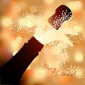 Bottle of champagne to spray on a abstract background Royalty Free Stock Photo