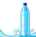 Bottle of clean water and splashing background ve vector illustration for text Royalty Free Stock Image