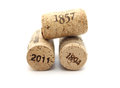 Bottle corks with dates isolated isolated on white background Royalty Free Stock Photo