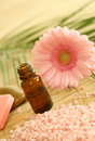 Bottle of essence oil,  bath salt and gerber Stock Photo