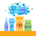 Bottle Of Essential Chemical Elements Nutrient Minerals Vitamins Royalty Free Stock Photo