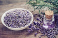 Bottle of essential oil and lavender flowers in bowl Royalty Free Stock Photo