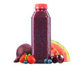 Bottle of Fresh Beet, Berry, and Watermelon Juice Royalty Free Stock Photo