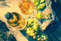 Bottle and full glass of white wine over vineyard background. Wi Royalty Free Stock Photo