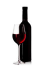 Bottle and glass of red wine isolated on white background Stock Photos