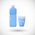 Bottle and glass of water flat icon
