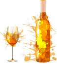 Bottle and glass of wine made of colorful splashes on white backgound Stock Photo