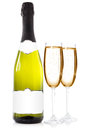 Bottle and glasses with champagne of two over a white background Royalty Free Stock Images