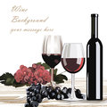 Bottle and Glasses of Red wine with grapes