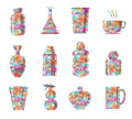 Bottle graphic colorful diamond shape Stock Photography