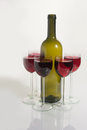 stock image of  Bottle of great wine and wineglass